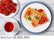 Купить «Belgian waffles with strawberries», фото № 26892404, снято 13 июня 2017 г. (c) Oksana Zh / Фотобанк Лори