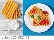 Купить «Belgian waffles with strawberries», фото № 26892408, снято 13 июня 2017 г. (c) Oksana Zh / Фотобанк Лори
