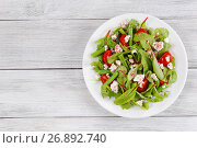 Купить «salad of green beans, cottage and herbs», фото № 26892740, снято 2 июля 2017 г. (c) Oksana Zh / Фотобанк Лори