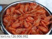 Bucket of fresh boiled pink small shrimps close up. Стоковое фото, фотограф Anton Eine / Фотобанк Лори