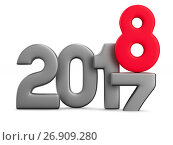 Купить «2018 new year. Isolated 3D illustration», иллюстрация № 26909280 (c) Ильин Сергей / Фотобанк Лори