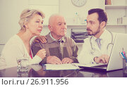 Купить «Old father with daughter visit doctor», фото № 26911956, снято 21 июля 2019 г. (c) Яков Филимонов / Фотобанк Лори