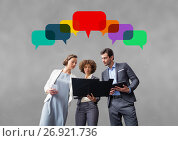 Купить «Business people with speech bubbles against grey background», фото № 26921736, снято 18 октября 2018 г. (c) Wavebreak Media / Фотобанк Лори