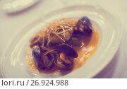 Купить «grilled white fish and mussels», фото № 26924988, снято 14 ноября 2018 г. (c) Яков Филимонов / Фотобанк Лори