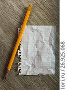 Купить «crumpled notebook sheet and pencil», фото № 26925068, снято 18 июля 2018 г. (c) Яков Филимонов / Фотобанк Лори