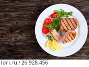 Купить «delicious grilled tuna steak with strips», фото № 26928456, снято 28 июля 2017 г. (c) Oksana Zh / Фотобанк Лори