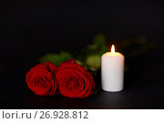 Купить «red roses and burning candle over black background», фото № 26928812, снято 20 марта 2017 г. (c) Syda Productions / Фотобанк Лори