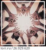 Купить «Friends putting their hands together», фото № 26929620, снято 23 января 2019 г. (c) Wavebreak Media / Фотобанк Лори