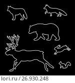 Купить «Set of silhouettes of wild animals», иллюстрация № 26930248 (c) Сергей Антипенков / Фотобанк Лори