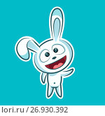 Sticker emoji emoticon, emotion, hi, hello, waving his hand in greeting vector illustration character sweet, cute white rabbit, bunny, hare, coney, cony, lapin for happy Easter. Стоковая иллюстрация, иллюстратор Maryna Bolsunova / Фотобанк Лори