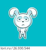 Sticker emoji emoticon, emotion, boredom, unperturbed, hopelessness, vector isolated character sweet, cute white rabbit, bunny, hare, coney, cony, lapin for happy Easter. Стоковая иллюстрация, иллюстратор Maryna Bolsunova / Фотобанк Лори