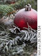 Купить «Christmas background on wooden», фото № 26934124, снято 13 сентября 2017 г. (c) Типляшина Евгения / Фотобанк Лори