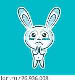Sticker emoji emoticon, emotion beg, ask, pray, tears in eyes, vector illustration character sweet, cute white rabbit, bunny, hare, coney, cony, lapin for happy Easter. Стоковая иллюстрация, иллюстратор Maryna Bolsunova / Фотобанк Лори