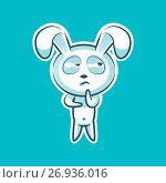 Sticker emoji emoticon emotion Hmm, doubt, thinking vector isolated illustration character sweet, cute white rabbit, bunny, hare, coney, cony, lapin for happy Easter. Стоковая иллюстрация, иллюстратор Maryna Bolsunova / Фотобанк Лори