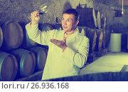 Купить «Sommelier holding glass of wine and checking quality», фото № 26936168, снято 22 сентября 2016 г. (c) Яков Филимонов / Фотобанк Лори
