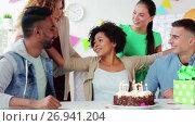 Купить «team greeting colleague at office birthday party», видеоролик № 26941204, снято 6 сентября 2017 г. (c) Syda Productions / Фотобанк Лори