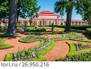 Купить «Монплезир в Петергофе Monplaisir  in Peterhof», фото № 26950216, снято 10 июля 2017 г. (c) Baturina Yuliya / Фотобанк Лори