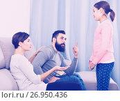 Купить «Parents lecturing their daughter», фото № 26950436, снято 19 марта 2019 г. (c) Яков Филимонов / Фотобанк Лори
