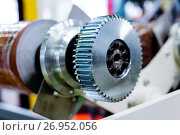 Купить «Steel cogwheel on the axle.», фото № 26952056, снято 7 июня 2017 г. (c) Андрей Радченко / Фотобанк Лори