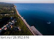 Купить «Россия, Туапсе, городской пляж с высоты птичьего полёта», фото № 26952616, снято 27 августа 2016 г. (c) glokaya_kuzdra / Фотобанк Лори