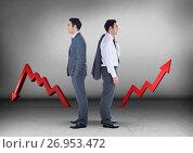 Купить «Left or right crooked arrows with Businessman looking in opposite directions», фото № 26953472, снято 13 декабря 2018 г. (c) Wavebreak Media / Фотобанк Лори