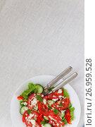 Купить «Shopska salad in a white plate on a white tablecloth. The concept of minimalism», фото № 26959528, снято 23 августа 2017 г. (c) Tetiana Chugunova / Фотобанк Лори