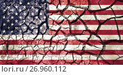 Купить «american flag on cracked ground background», фото № 26960112, снято 18 февраля 2017 г. (c) Syda Productions / Фотобанк Лори