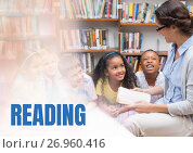 Купить «Reading text and Elementary school teacher with class», фото № 26960416, снято 17 августа 2018 г. (c) Wavebreak Media / Фотобанк Лори