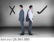 Купить «Correct Right or wrong drawings with Businessman looking in opposite directions», фото № 26961080, снято 23 августа 2019 г. (c) Wavebreak Media / Фотобанк Лори