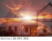 Купить «Abstract transition with house fire», фото № 26961364, снято 29 января 2020 г. (c) Wavebreak Media / Фотобанк Лори