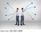 Купить «Left or right arrows directions with Businessman looking in opposite directions», фото № 26961408, снято 26 сентября 2018 г. (c) Wavebreak Media / Фотобанк Лори