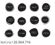 Купить «Set of black round stains isolated on white background. Hand drawn scribble circles. Spot banner for text. Vector logo design elements», иллюстрация № 26964716 (c) Dmitry Domashenko / Фотобанк Лори