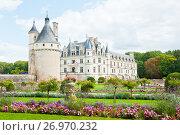 Вид на замок Шенонсо (Château de Chenonceaux). Департамент Эндр и Луара. Франция (2017 год). Редакционное фото, фотограф E. O. / Фотобанк Лори