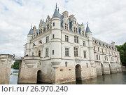 Замок Шенонсо  (фр. Château de Chenonceaux). Ранняя осень. Департамент Эндр и Луара. Франция (2017 год). Редакционное фото, фотограф E. O. / Фотобанк Лори