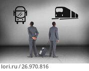 Купить «Bus or train with Businessman looking in opposite directions», фото № 26970816, снято 26 сентября 2018 г. (c) Wavebreak Media / Фотобанк Лори