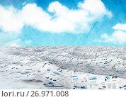 Купить «sea of documents under blue sky», иллюстрация № 26971008 (c) Wavebreak Media / Фотобанк Лори