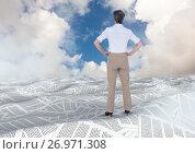 Купить «Businesswoman in sea of documents under sky clouds», фото № 26971308, снято 16 февраля 2019 г. (c) Wavebreak Media / Фотобанк Лори