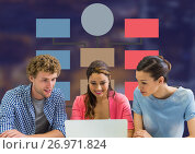 Group meeting and Colorful mind map over dark background. Стоковое фото, агентство Wavebreak Media / Фотобанк Лори