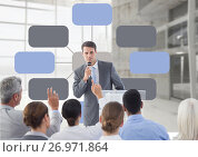 Купить «Group meeting with mind map conference», фото № 26971864, снято 18 июля 2018 г. (c) Wavebreak Media / Фотобанк Лори