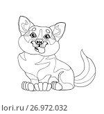 Купить «Милый щенок Вельш-Корги сидит. Иллюстрация в мультипликационном стиле, контурный рисунок на белом фоне, раскраска», иллюстрация № 26972032 (c) Анастасия Некрасова / Фотобанк Лори