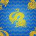 Злой золотой дракон и золотые полны на голубом фоне. Бесшовный фон., иллюстрация № 26972036 (c) Анастасия Некрасова / Фотобанк Лори