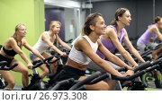 Купить «Athletic young girls during workout on stationary bicycle in fitness gym», видеоролик № 26973308, снято 28 июля 2017 г. (c) Яков Филимонов / Фотобанк Лори