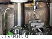 Купить «Drilling machine. The drill bit is installed in the drill chuck.», фото № 26981472, снято 15 июня 2017 г. (c) Андрей Радченко / Фотобанк Лори