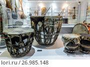 Купить «Traditional drums in Museum of Music, homage to Iran's musical traditions in Isfahan, Iran.», фото № 26985148, снято 20 октября 2016 г. (c) age Fotostock / Фотобанк Лори