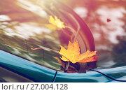 Купить «close up of car wiper with autumn leaves», фото № 27004128, снято 12 октября 2016 г. (c) Syda Productions / Фотобанк Лори