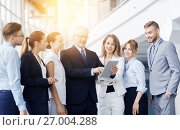 Купить «business people with tablet pc computer at office», фото № 27004288, снято 3 июля 2016 г. (c) Syda Productions / Фотобанк Лори