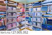 Купить «Moscow, Russia - September 15. 2017. Bed linen in shop Zara Home store in the mall Zelenopark», фото № 27005352, снято 15 сентября 2017 г. (c) Володина Ольга / Фотобанк Лори