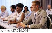 Купить «businessman at business conference asking question», видеоролик № 27010044, снято 16 июля 2020 г. (c) Syda Productions / Фотобанк Лори