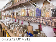 Купить «Glass cans with many different dry spices standing», фото № 27014912, снято 13 июня 2017 г. (c) Яков Филимонов / Фотобанк Лори