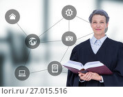Купить «Female judge against blurry grey office with grey interface», фото № 27015516, снято 16 сентября 2019 г. (c) Wavebreak Media / Фотобанк Лори
